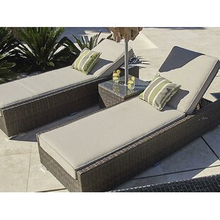 Castle Double Reclining Chaise Lounge with Cushion and Table