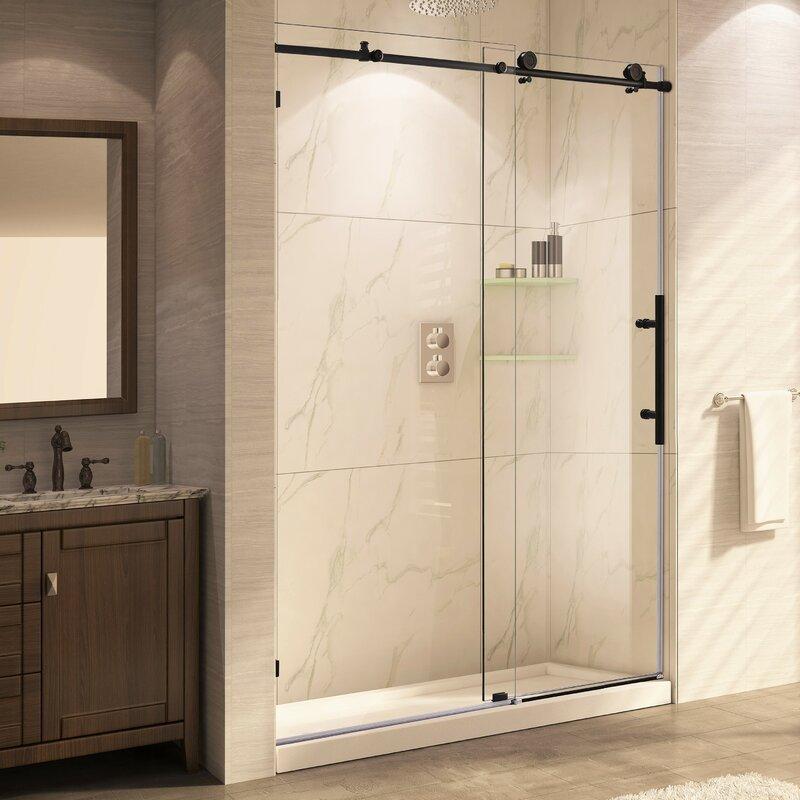 Trident Mocha 60'' x 62'' Single Sliding Shower Door
