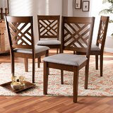 Bucklebury Upholstered Cross Back Side Chair in Walnut (Set of 4) by Red Barrel Studio®
