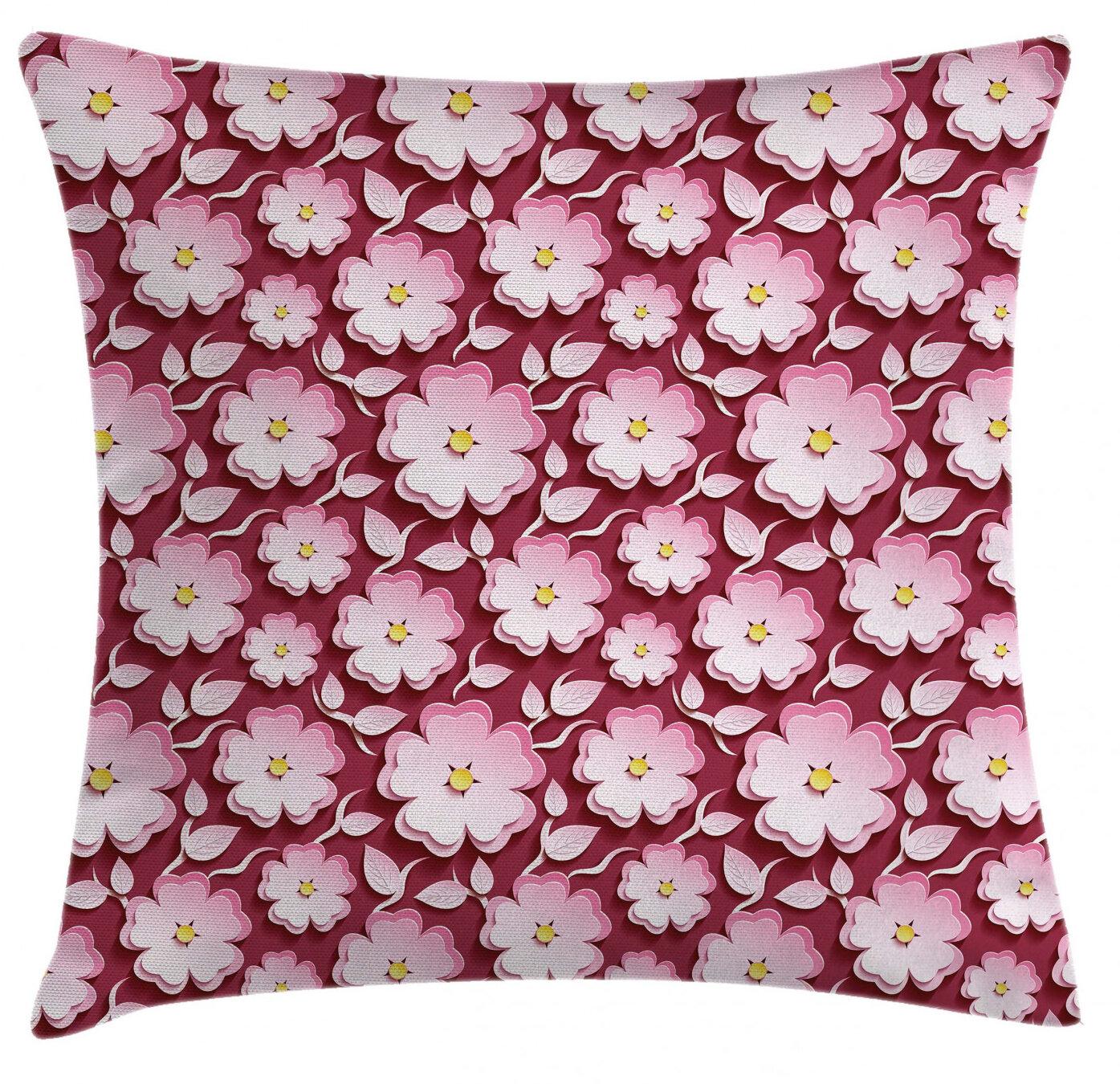 East Urban Home Japanese Cherry Blossom Sakuraindoor Outdoor Floral 26 Throw Pillow Cover Wayfair