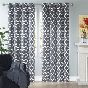 Kuhlmann Lattice Geometric Room Darkening Thermal Grommet Curtain Panels  (Set Of 2)
