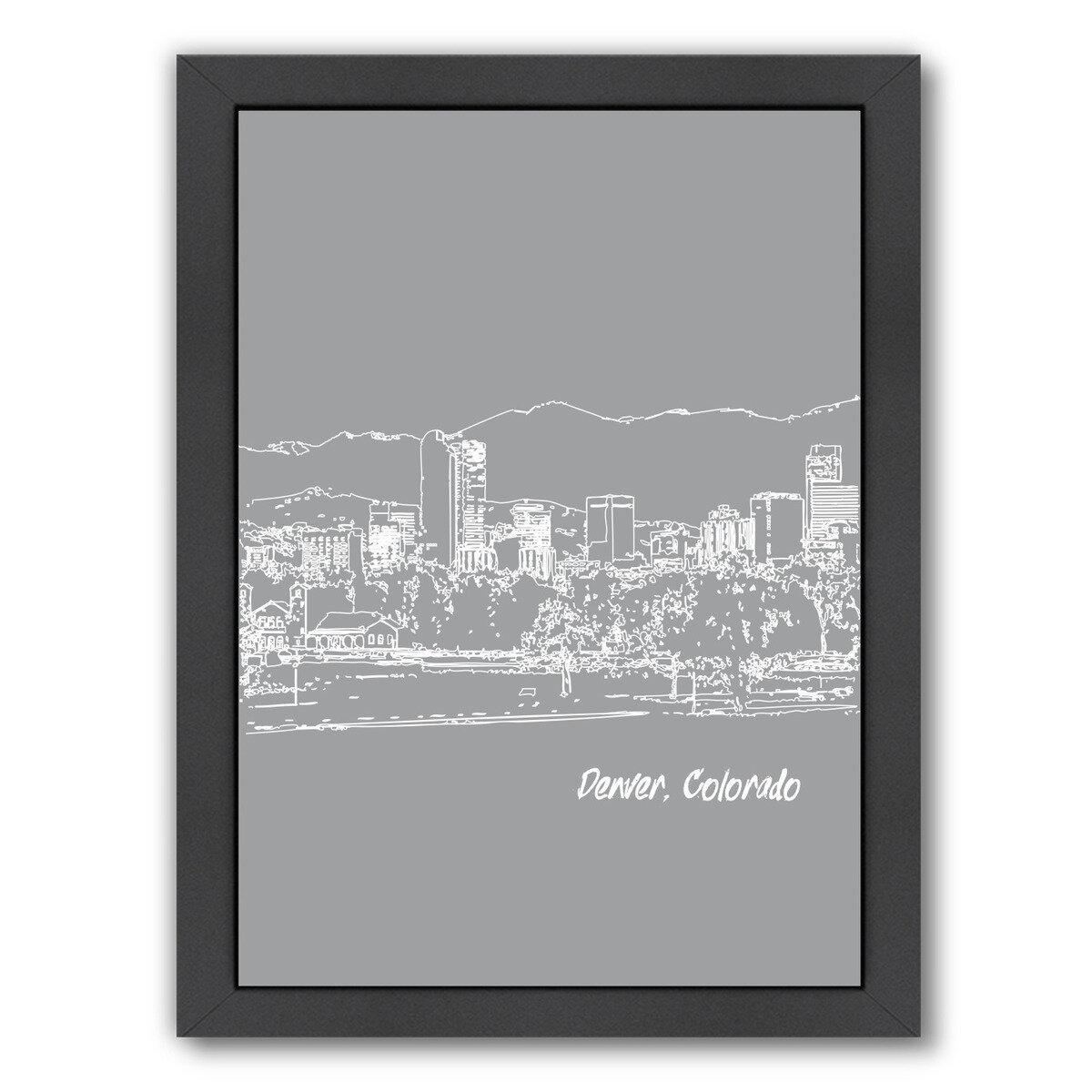 East Urban Home Skyline Denver 2 Framed Graphic Art In Gray Wayfair