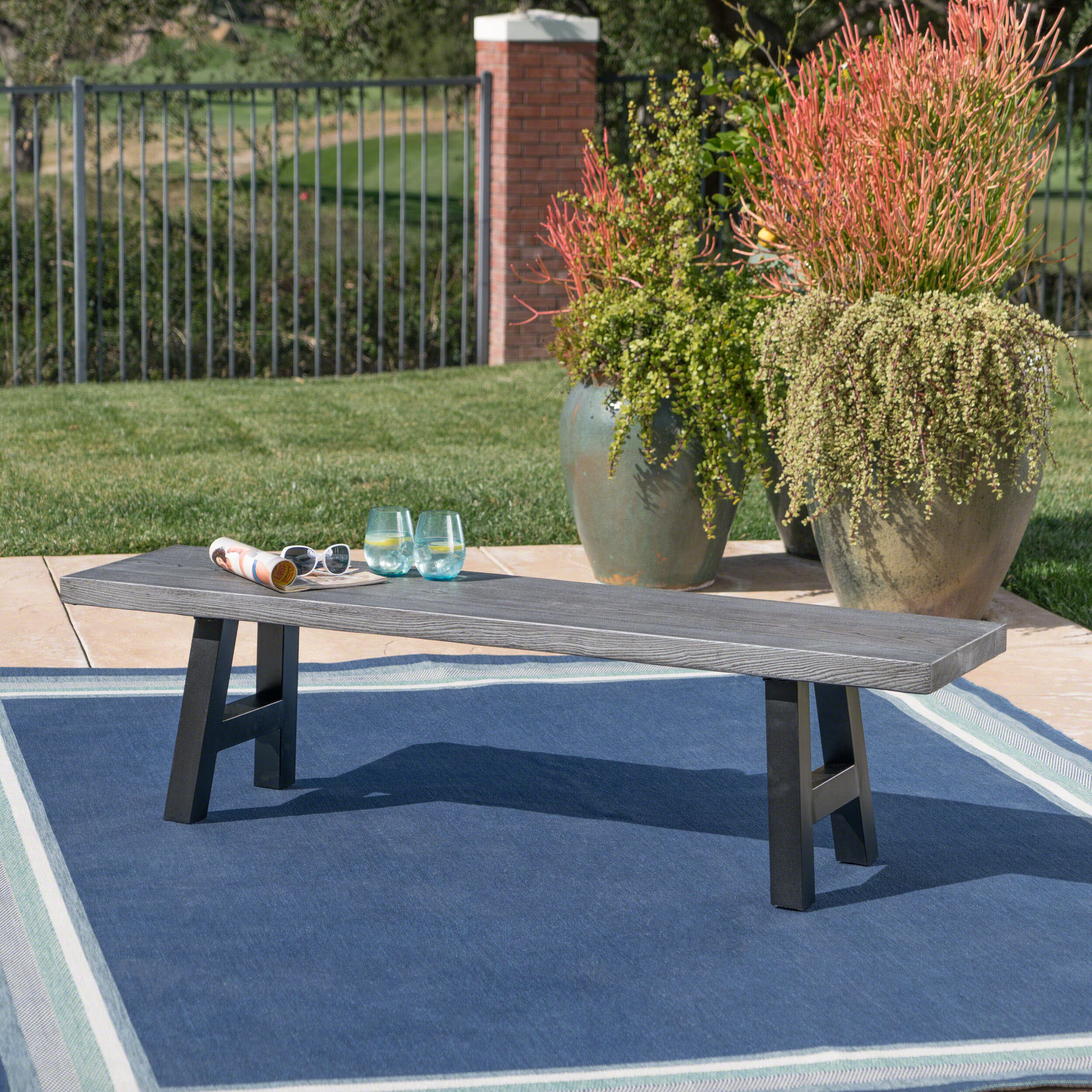 Armless Metal Outdoor Benches You Ll Love In 2021 Wayfair