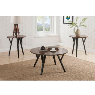 Foundry Select Boger Wood and Metal 3 Piece Coffee Table Set
