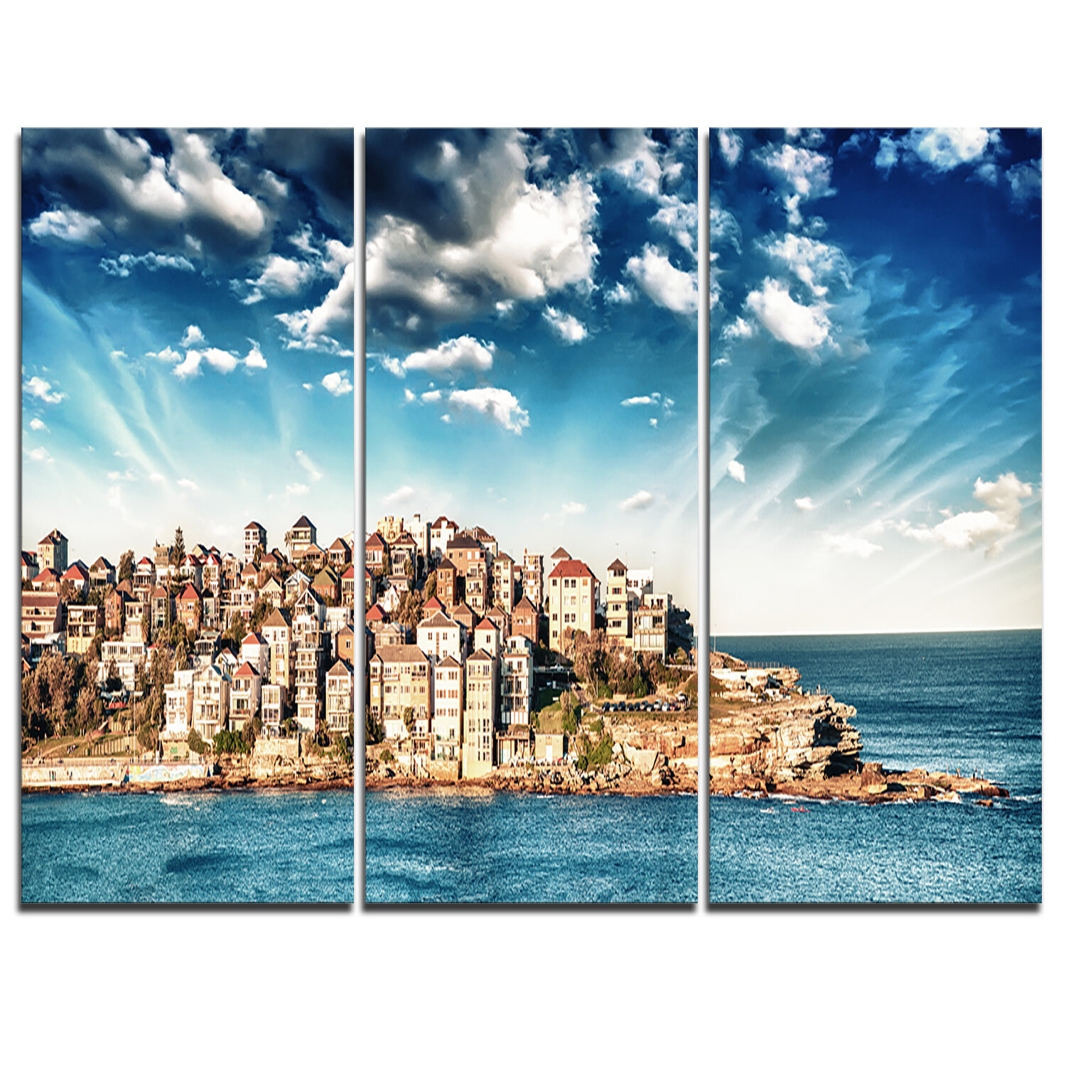 Designart Sydney Bondi Beach Panorama 3 Piece Graphic Art On Wrapped Canvas Set Wayfair