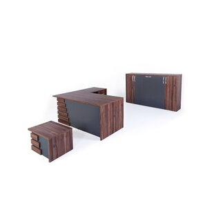 Whitewood Modern 3 Piece L Shaped Desk Office Suite