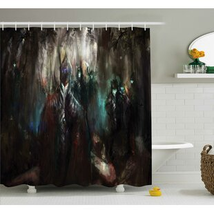 Fantasy World Cybernetics Army Deep Forest Futuristic Artificial Evil Fighters Image Single Shower Curtain