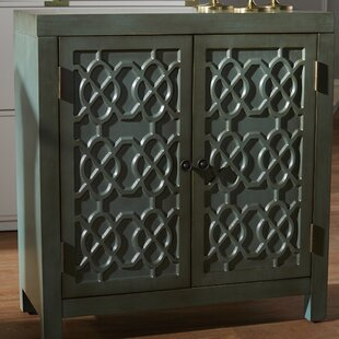 Ellzey Antiqued Quatrefoil 2 Door Accent Cabinet by Bungalow Rose