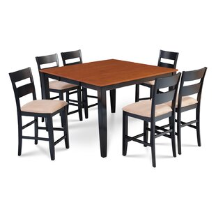 Charlestown 7 Piece Hardwood Counter Height Solid Wood Dining Set Alcott Hill