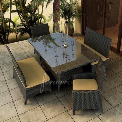Hampton 5 Piece Dining Set with Sunbrella Cushions Forever Patio Fabric: Canvas Wheat / Spectrum Mushroom Welt