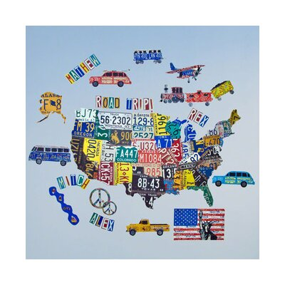 Oopsy Daisy License Plate Usa Map Peel And Place Wall Decal Wayfair - Us-map-made-out-of-license-plates