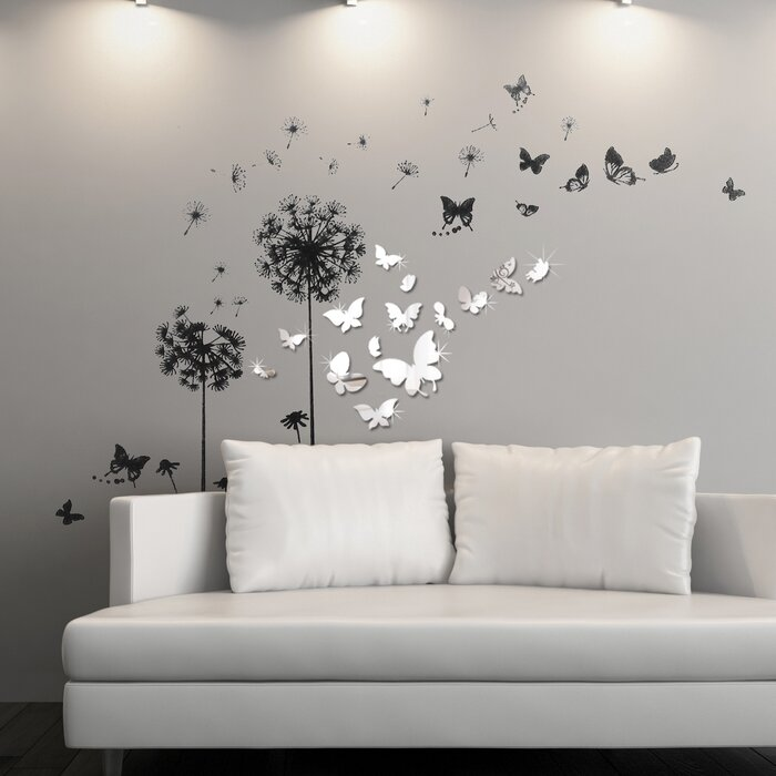 Lovely Viens Mirror Butterfly Transparent Dandelion Wall Decal