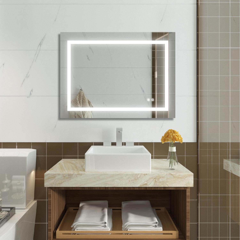 Orren Ellis Connery Slim Led Aesthetic Lighted Bathroom Mirror Wayfair