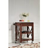 Brycen Kitchen Cart with Marble Top by Charlton Home®