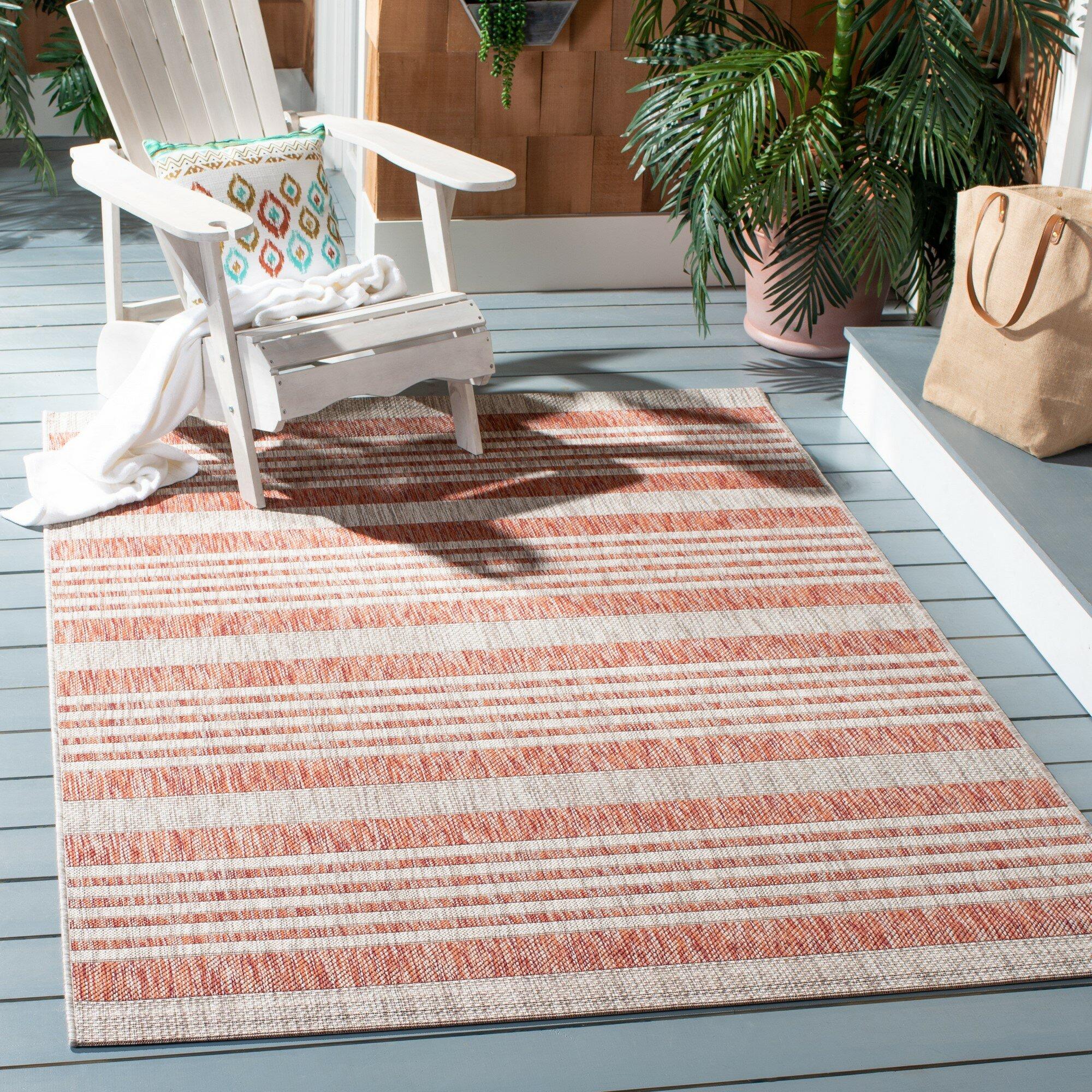 Longshore Tides Covington Striped Red Beige Indoor Outdoor Area Rug Reviews Wayfair