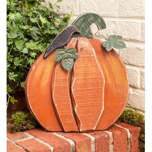 Wood and Metal Pumpkin Garden Stake
