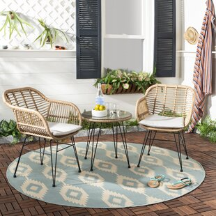 Bungalow Rose Conn 3 Piece Rattan 2 Person Seating Group with Cushions