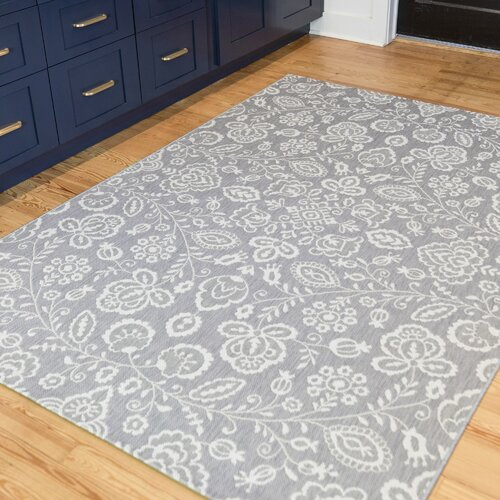 Charlton Home Olszewski Floral Gray Indoor Outdoor Area Rug Reviews Wayfair