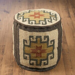 North Adams Round Kilim Pouf Ottoman by Bloomsbury Market