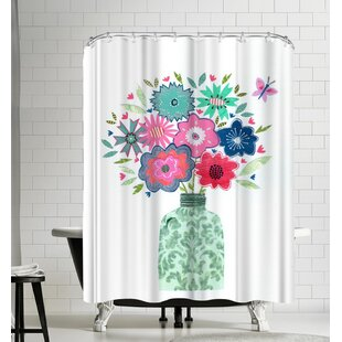 Liz and Kate Pope Vase and Flowers Shower Curtain