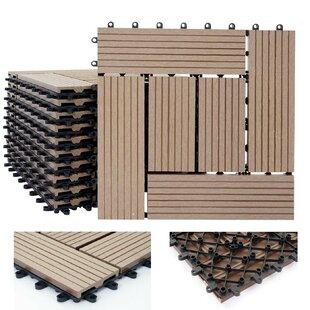 Rhone 30 x 30cm WPC Wood-Effect Tile in Light Brown (Set of 11) by Mendler