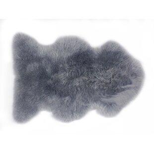 Handwoven Sheepskin Dark Grey Rug by Fibre Auskin