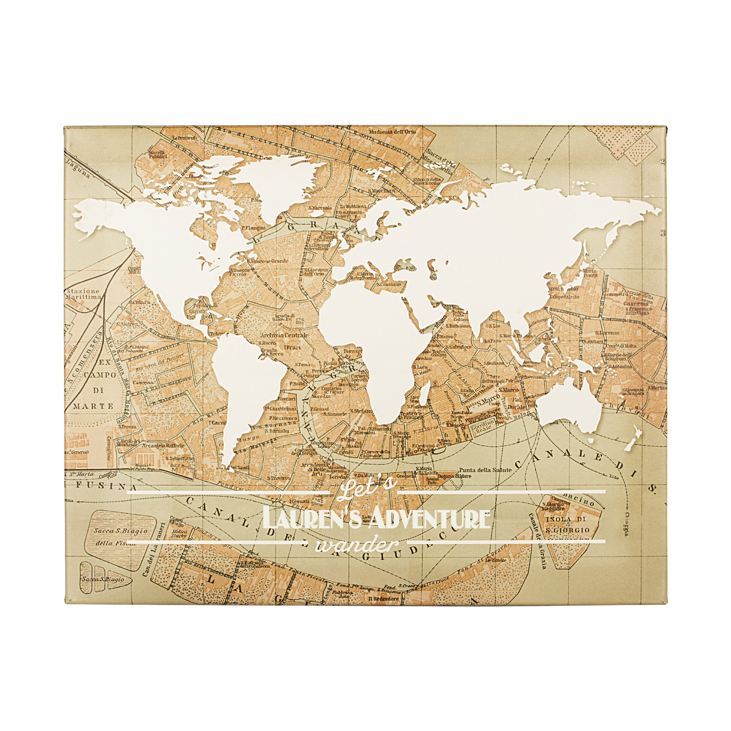 Cathys Concepts Personalized Travel the World Graphic Art on Wrapped ...