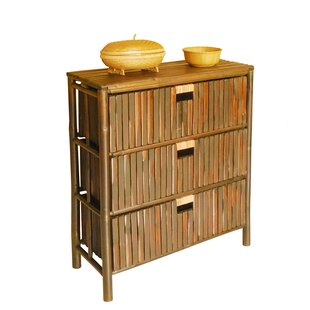 Hand Crafted Bamboo Wood 3 Drawer Chest by ZEW Inc