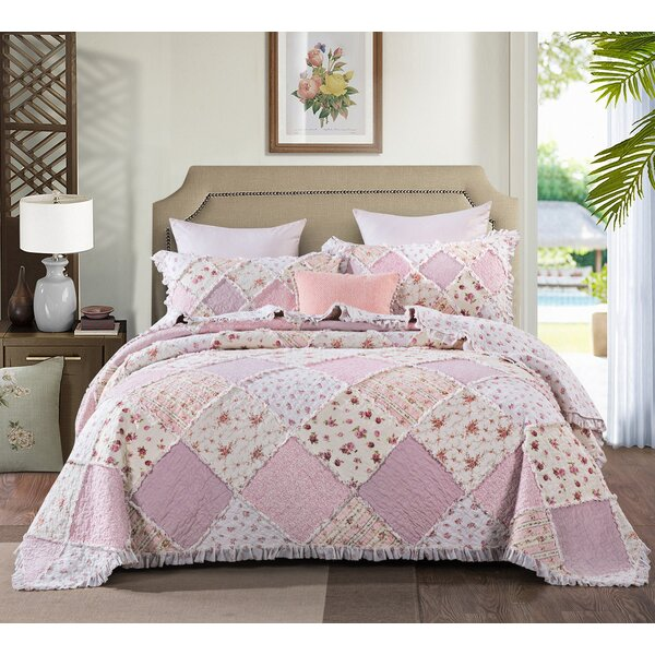 DaDa Bedding Blossoming Light Floral Patchwork Quilted Coverlet Bedspread Set