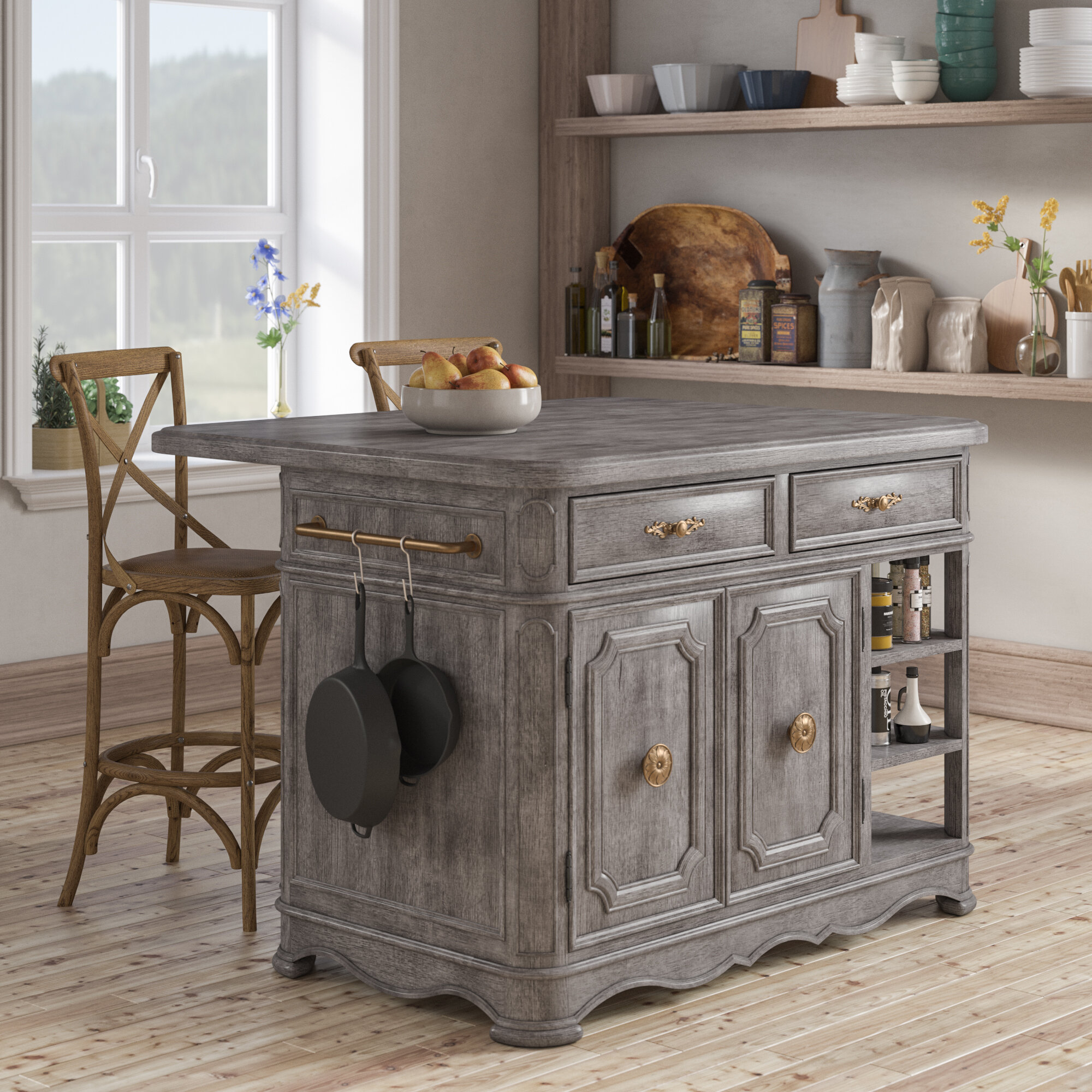 French Country Kitchen Islands Carts Free Shipping Over 35 Wayfair