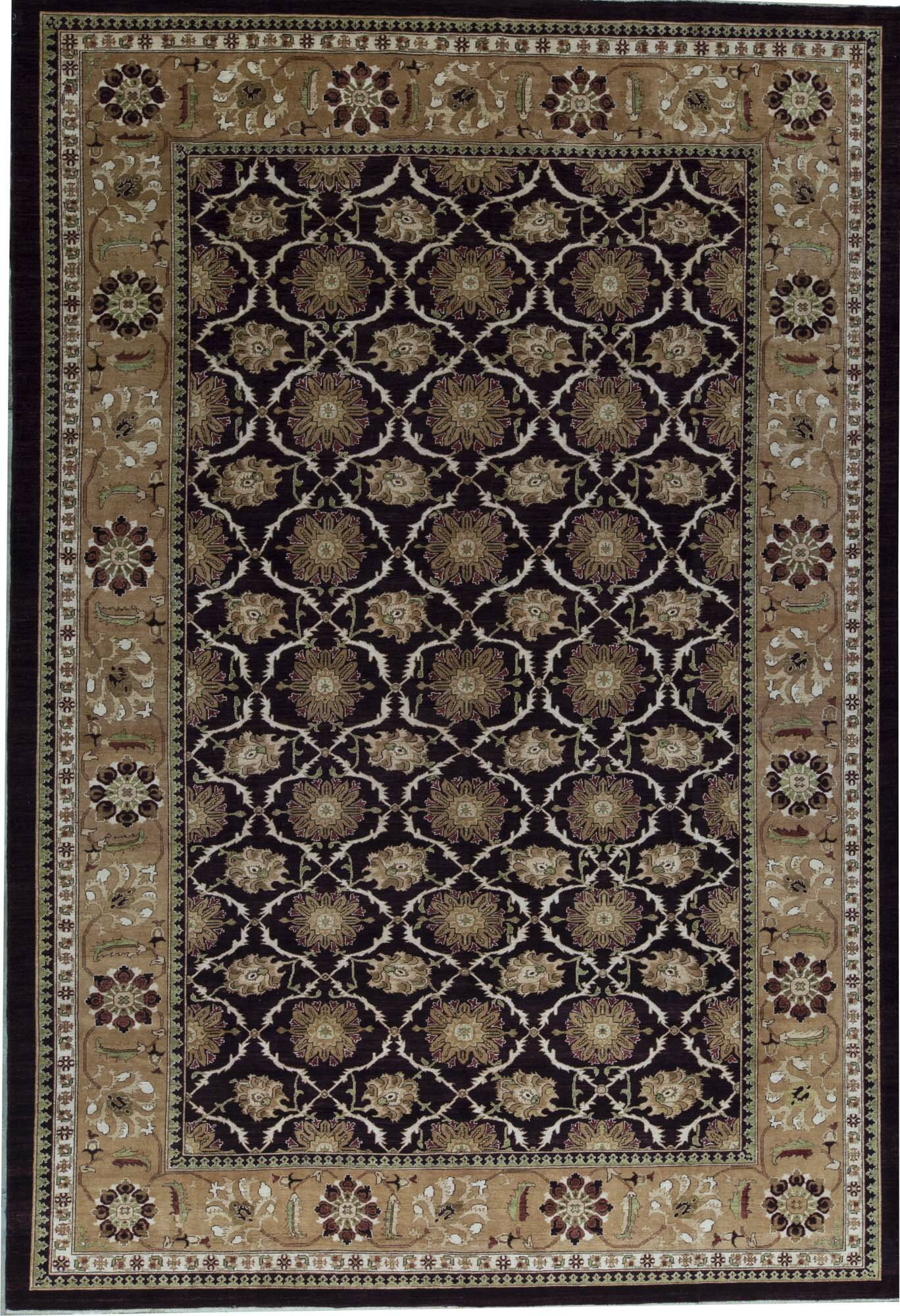 Bokara Rug Co Inc Oriental Hand Knotted Wool Aubergine Gold Area Rug Wayfair