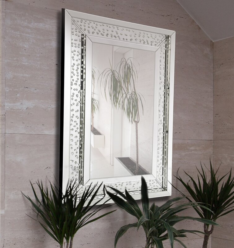Rectangular Floating Crystals Beveled Panel Framed Wall Mirror