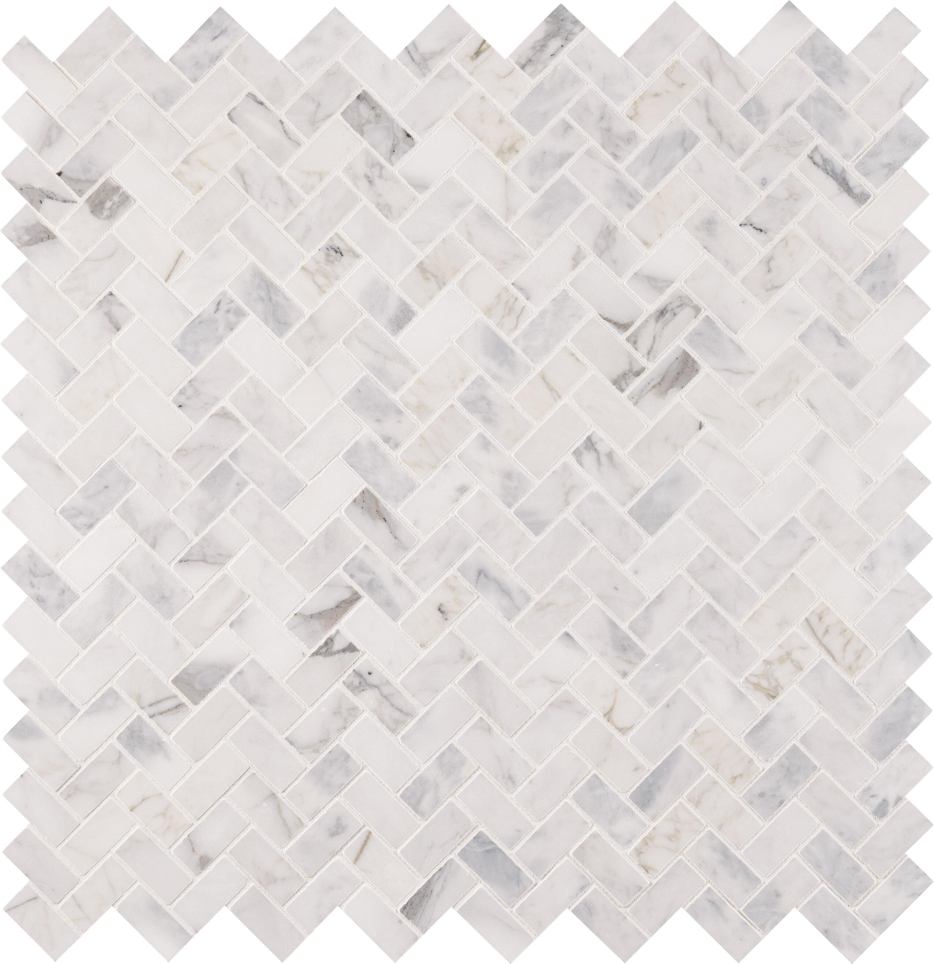 Msi Calacatta Cressa 1 X 2 Marble Herringbone Mosaic Wall Floor Tile Reviews Wayfair