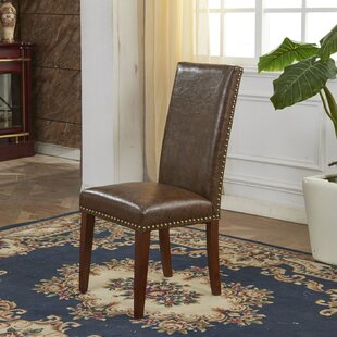 Traditional Waxed Texture Nail Head Parsons Chair (Set of 2) Bellasario Collection