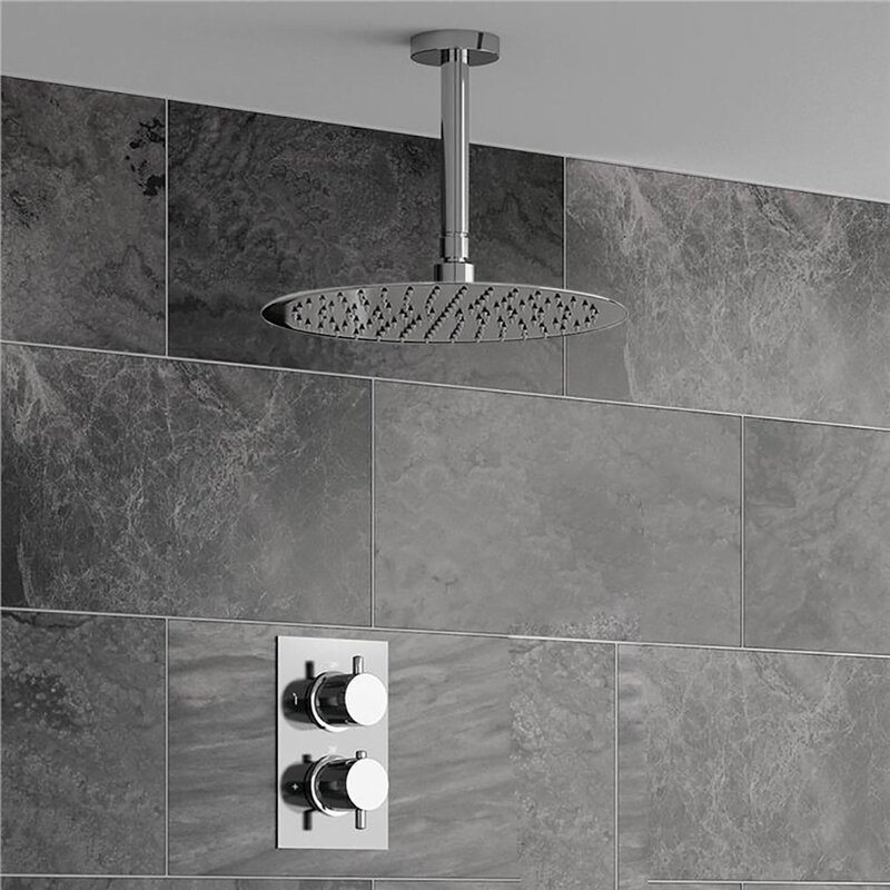 Symple Stuff Ultra Thin Head Thermostatic Complete Shower System With Rough In Valve Wayfair