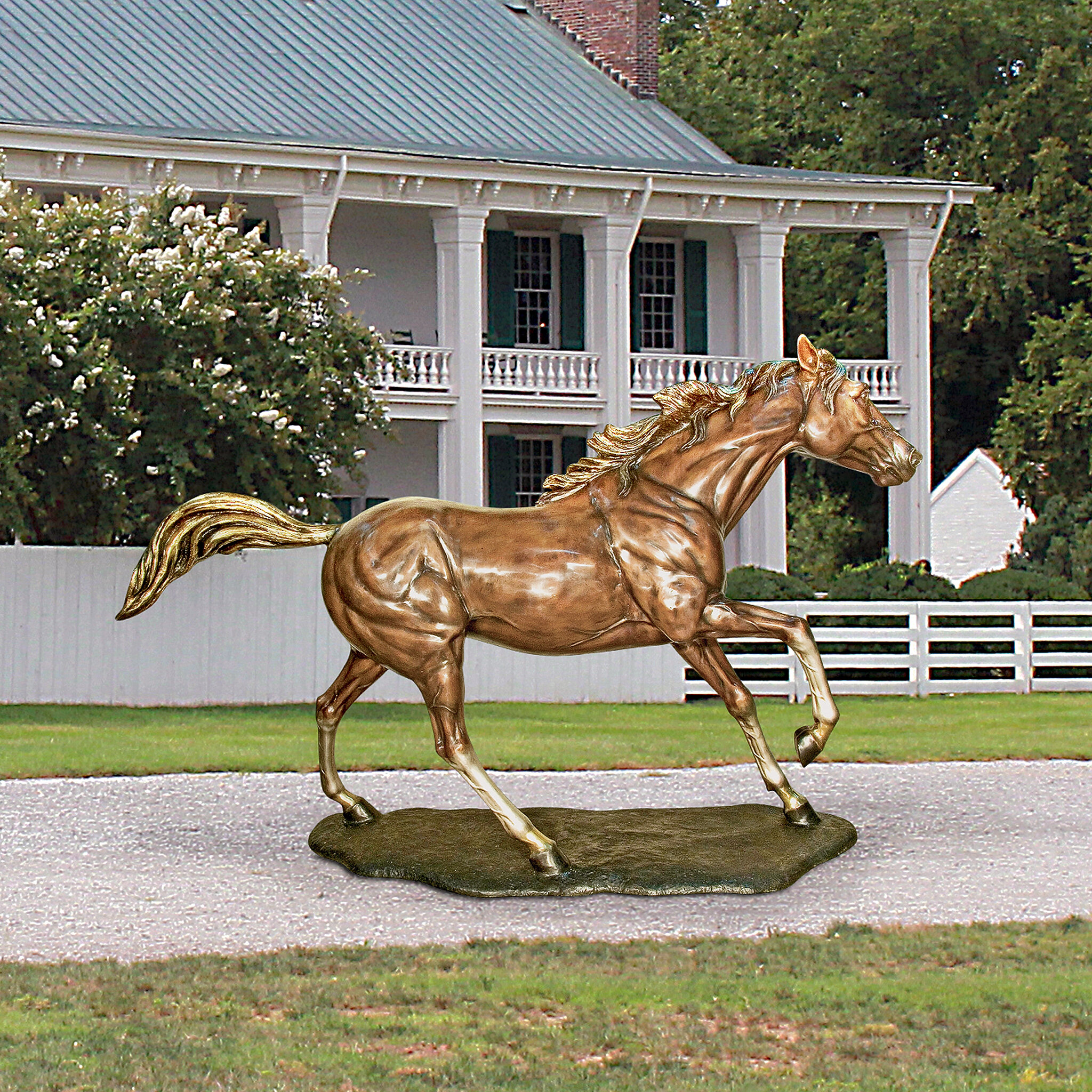 Design Toscano Galloping Steed Horse Cast Bronze Garden Statue Wayfair