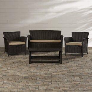 Brassard 4 Piece Rattan Sofa Set with Cushions by Mercury Row