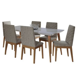 Lemington 7-Piece 70.86 Solid Wood Dining Set with 6 Dining Chairs in White Gloss Marble and Beige