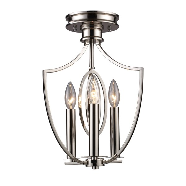 Danny 3 - Light 9'' Caged Geometric Semi Flush Mount by Red Barrel Studio®