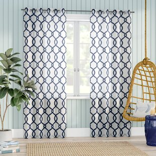 Plant City Geometric Light Filtering Grommet Curtain Panels (Set of 2) by Beachcrest Home
