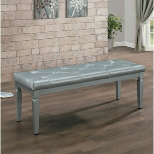 Kathline Faux Leather Wood Bench by House of Hampton