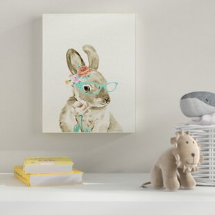 Woodland Bunny With Cat Eye Glasses Wall Art