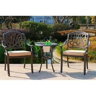 Nance Aluminum 3 Piece Sunbrella Bistro Set with Sunbrella Cushions
