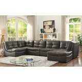 Ostby 147 Wide Faux Leather Symmetrical Modular Large Sectional with Ottoman by Ebern Designs