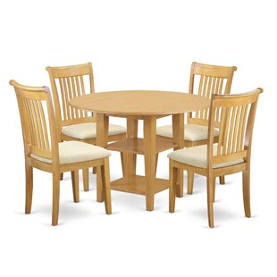 Tyshawn 5 Piece Drop Leaf Breakfast Nook Solid Wood Dining Set by Charlton Home
