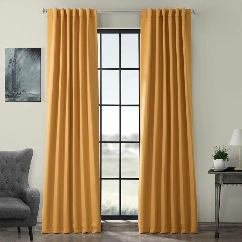 Darby Home Co Destinie Solid Color Room Darkening Rod Pocket Curtain Panels Reviews Wayfair