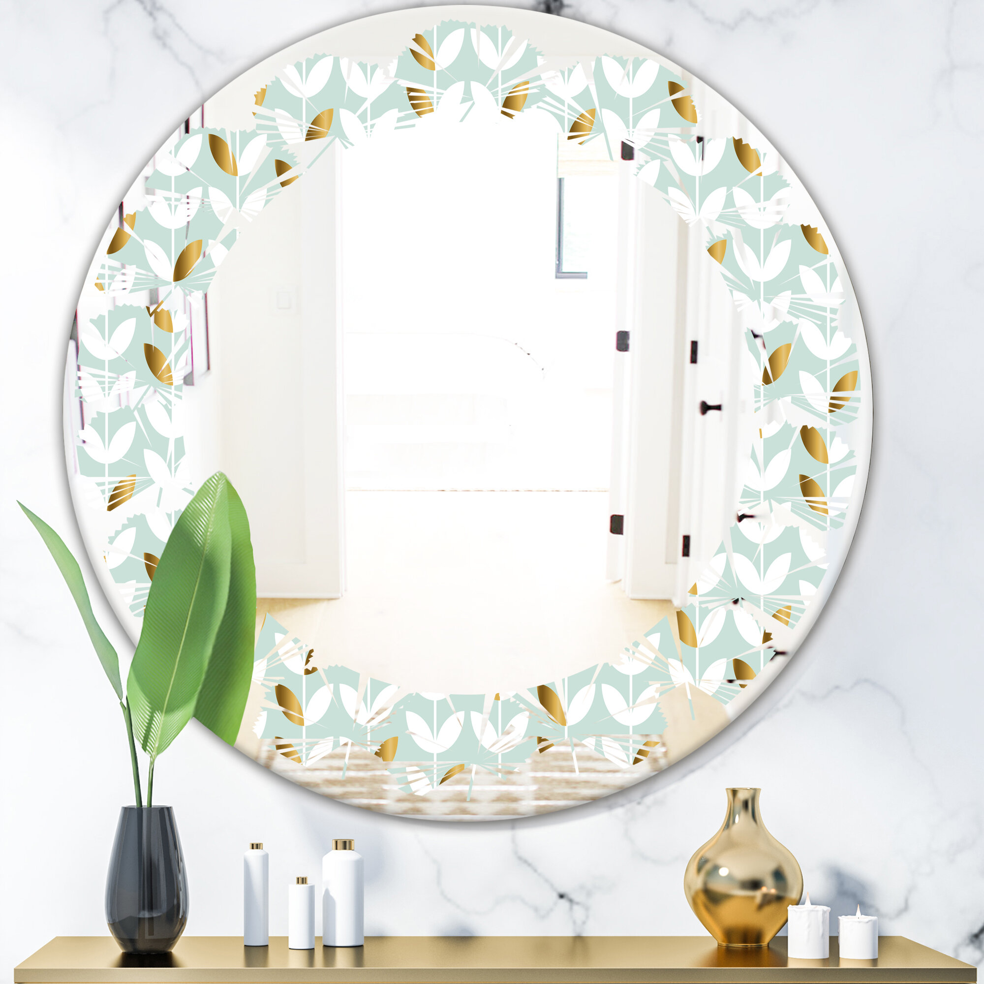 East Urban Home Leaves Foliage X Cottage Americana Frameless Wall Mirror