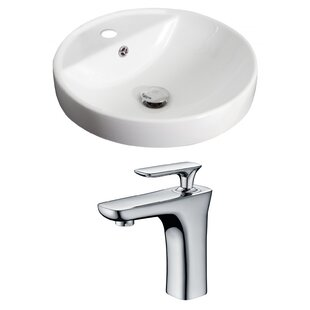 Compare prices Ceramic Circular Drop-In Bathroom Sink with Faucet and Overflow ByRoyal Purple Bath Kitchen