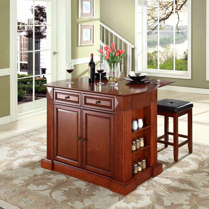 Beachcrest Home Byron Traditional Kitchen Island with Cherry Top ...