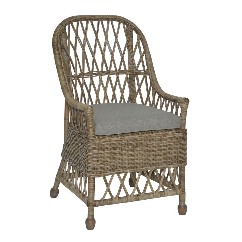 Cordele Rattan Arm Chair in Gray